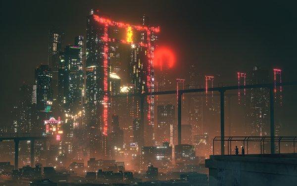 Sci Fi City Cyberpunk Cityscape Hologram Night HD Wallpaper | Background Image
