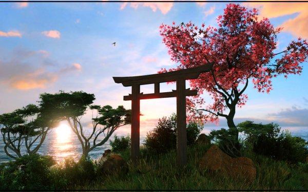 Artistic Nature Tree Torii Sky HD Wallpaper | Background Image