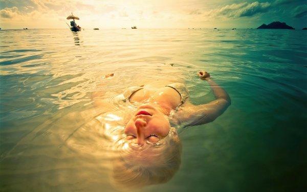 Women Bikini Water Boat Floating Sunset HD Wallpaper | Background Image