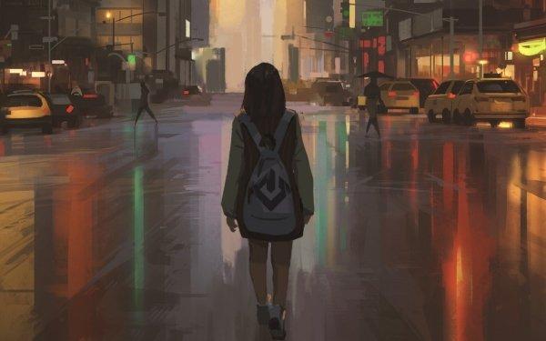 Anime Girl Street HD Wallpaper   Background Image