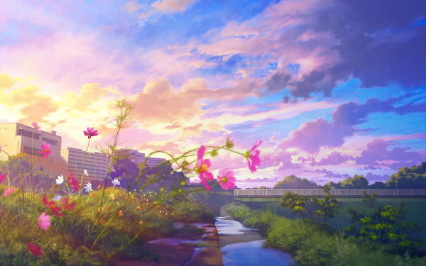Anime City HD Wallpaper | Background Image