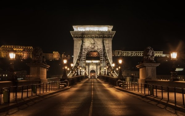 Man Made Chain Bridge Bridges Night Hungary Budapest HD Wallpaper   Background Image