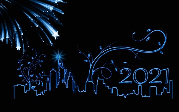 Holiday New Year 2021 Vector New York Statue of Liberty Fireworks USA HD Wallpaper | Background Image