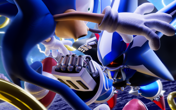 Comics Sonic the Hedgehog (IDW) Sonic the Hedgehog Metal Sonic Punch HD Wallpaper | Background Image
