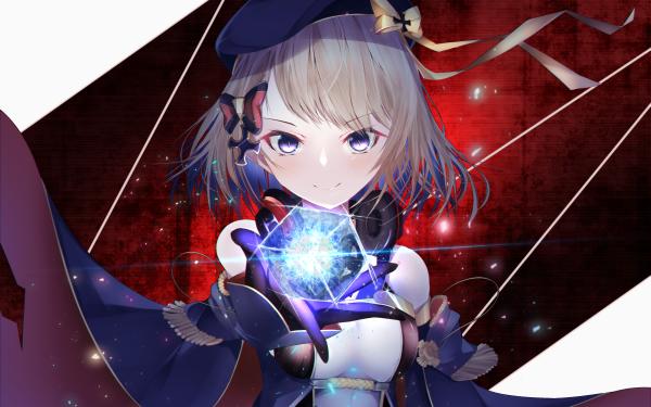 Anime Azur Lane Z23 Headphones Purple Eyes Short Hair Blonde Hat HD Wallpaper | Background Image