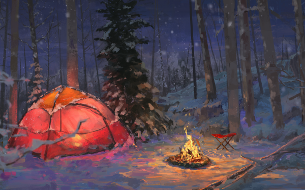 Artistic Camping Night Snow Forest Tent Camp Fire HD Wallpaper | Background Image