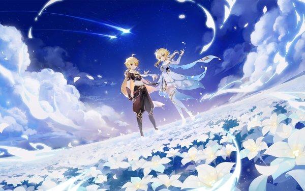 Videospel Genshin Impact Aether Lumine HD Wallpaper | Achtergrond