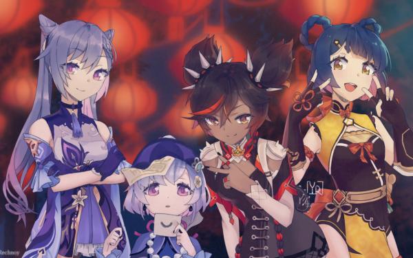 Video Game Genshin Impact Ganyu Keqing Xinyan Qiqi HD Wallpaper   Background Image