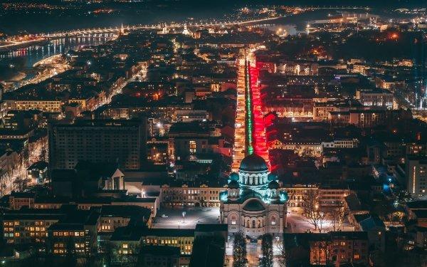 Man Made Kaunas Cities Lithuania City Night Building HD Wallpaper | Background Image