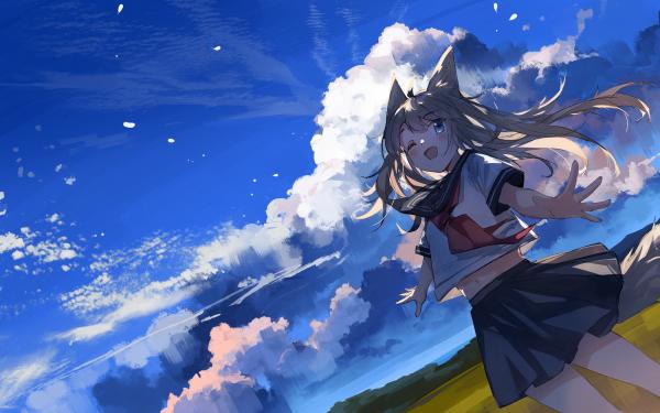 Anime Girl Sky Animal Ears Uniform HD Wallpaper   Background Image
