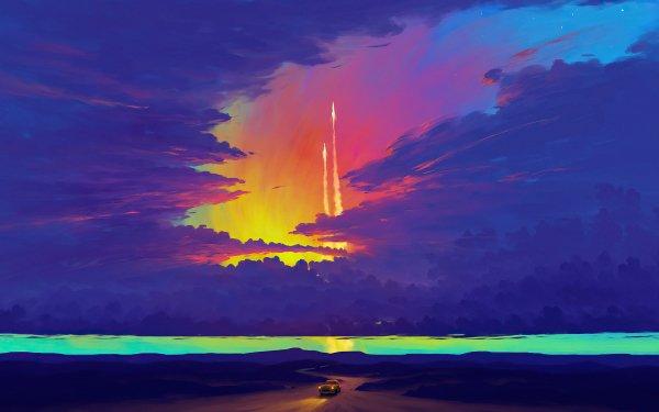 Artistic Landscape Cloud Car HD Wallpaper   Background Image