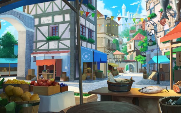 Anime City Fish Fruit HD Wallpaper | Background Image