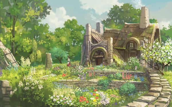 Anime Landscape Flower Hut HD Wallpaper   Background Image