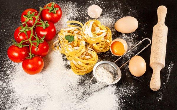 Food Pasta Egg Flour Tomato Still Life HD Wallpaper | Background Image