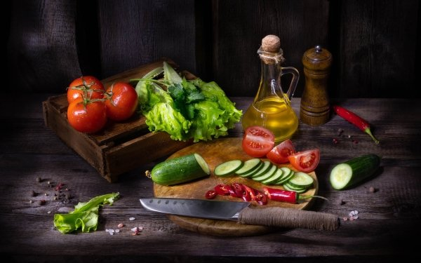 Food Still Life Oil Cucumber Tomato HD Wallpaper | Background Image