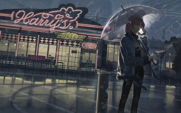 Anime Women Short Hair Umbrella Pink Hair Smartphone Rain HD Wallpaper | Background Image