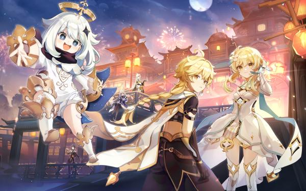 Video Game Genshin Impact Aether Keqing Lumine Ningguang Paimon Zhongli HD Wallpaper | Background Image