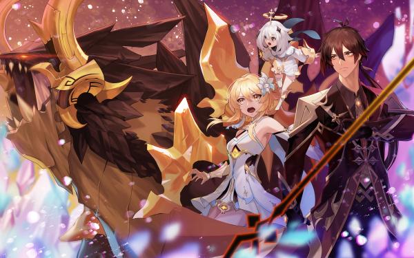 Video Game Genshin Impact Lumine Paimon Zhongli Azhdaha HD Wallpaper | Background Image