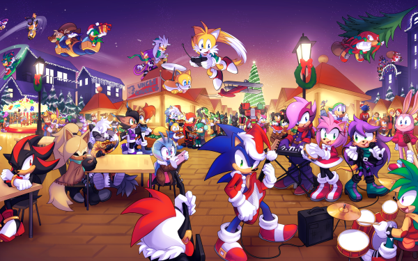"""Video Game Sonic the Hedgehog Sonic Sonia the Hedgehog Manic the Hedgehog Miles """"Tails"""" Prower Sally Acorn Nicole the Holo Lynx Amy Rose Knuckles the Echidna Mina Mongoose Shadow the Hedgehog Rotor the Walrus Whisper the Wolf Tangle the Lemur Ray the Flying Squirrel Mighty the Armadillo Vector the Crocodile Espio the Chameleon Silver the Hedgehog Antoine D'Coolette Bunnie Rabbot Charmy Bee Cream the Rabbit Honey the Cat Vanilla the Rabbit Jewel the Beetle Marine the Raccoon Big the Cat Belle the Tinkerer E-123 Omega Rouge the Bat Blaze the Cat Princess Elise Sticks the Badger Gadget the Wolf Corvin the Bird Doctor Eggman Metal Sonic Orbot Cubot Bean the Dynamite Bark the Polar Bear Fang the Sniper Jet the Hawk Wave the Swallow Storm the Albatross T-Pup Chao Tekno the Canary Christmas HD Wallpaper 