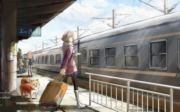 Anime Girl Suitcase Dog Train HD Wallpaper | Background Image