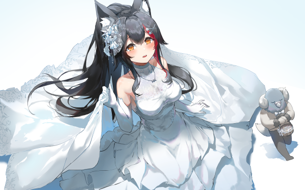 Anime Virtual Youtuber Hololive Ookami Mio Animal Ears Bride HD Wallpaper | Background Image