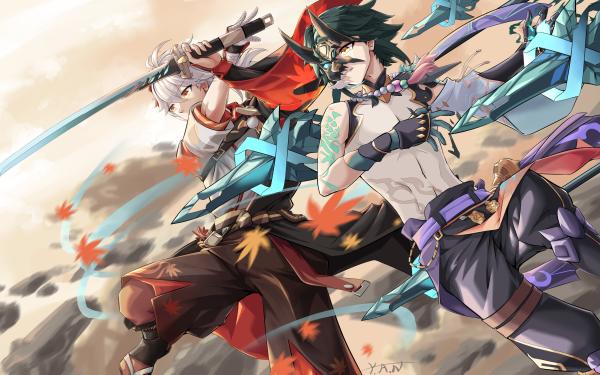 Video Game Genshin Impact Kaedehara Kazuha Xiao HD Wallpaper | Background Image