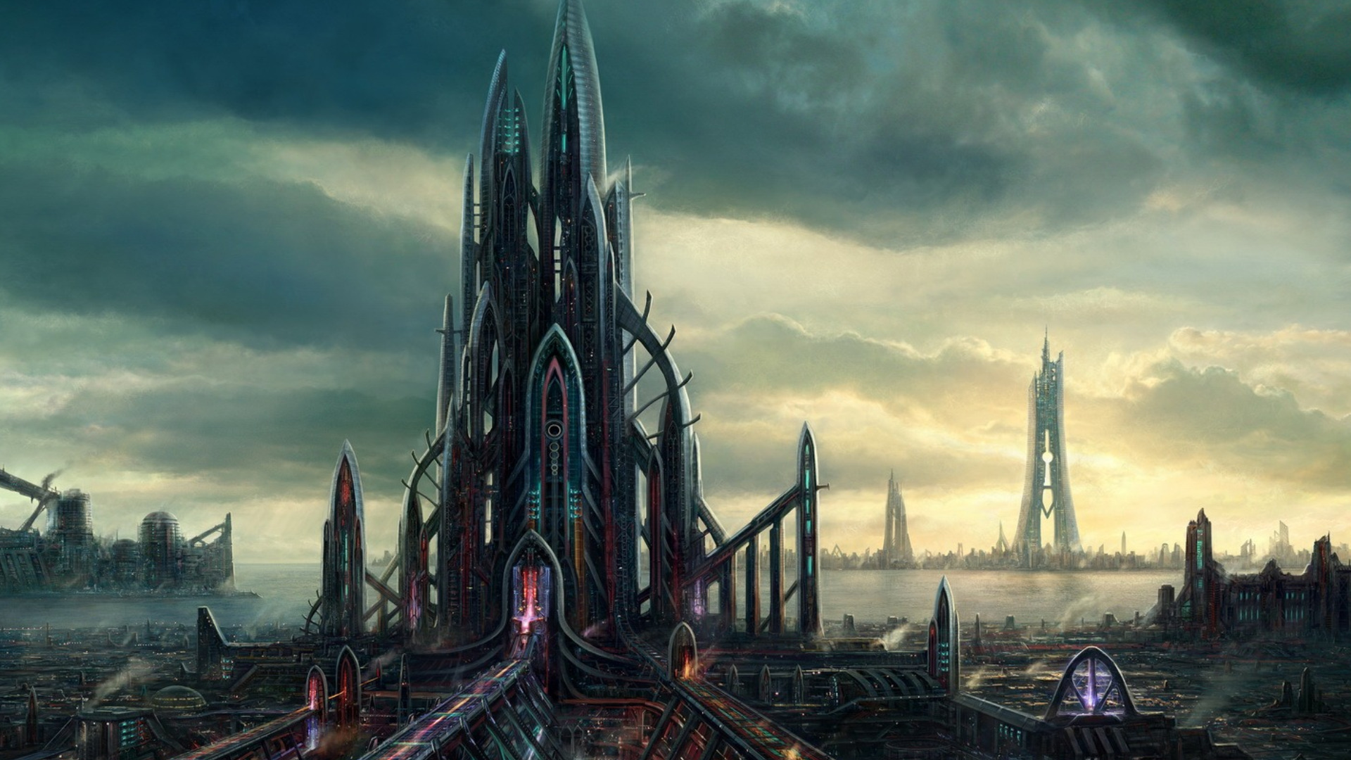 City full hd wallpaper and background 1920x1080 id 284567 for Sci fi background