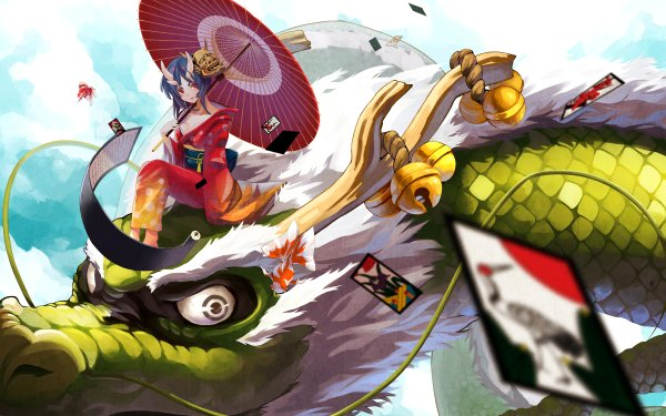 Anime Original Oni Red Eyes Dragon Dragon Rider HD Wallpaper | Background Image