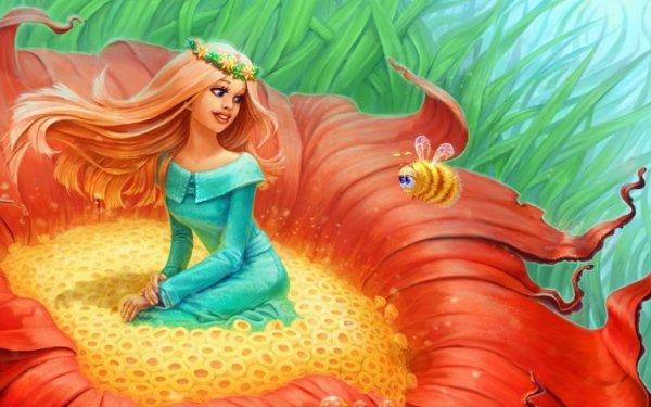 Fantasy Women Flower Bee HD Wallpaper   Background Image