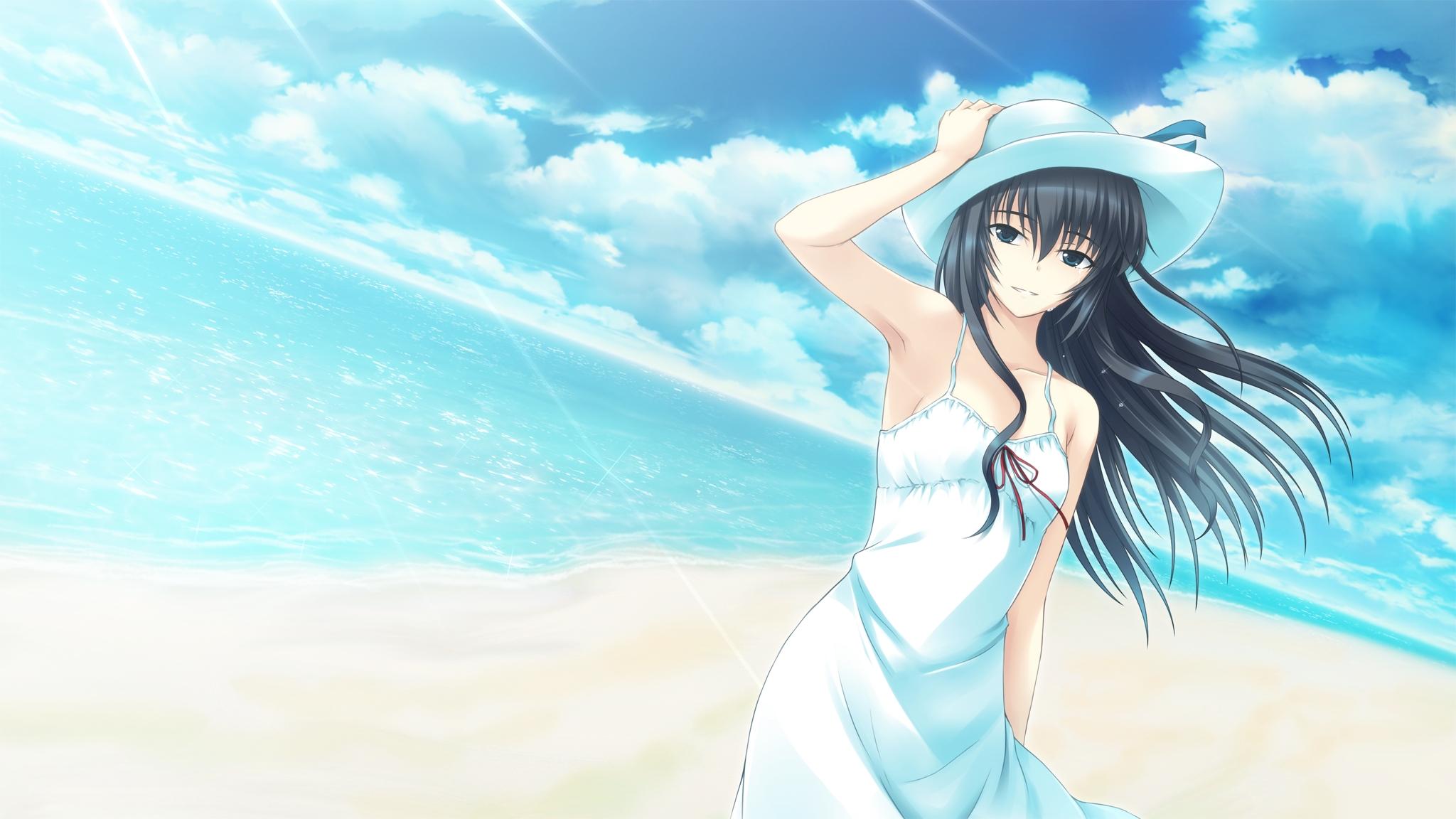 Tokyo babel hd wallpaper background image 2048x1152 - Beach anime girl ...