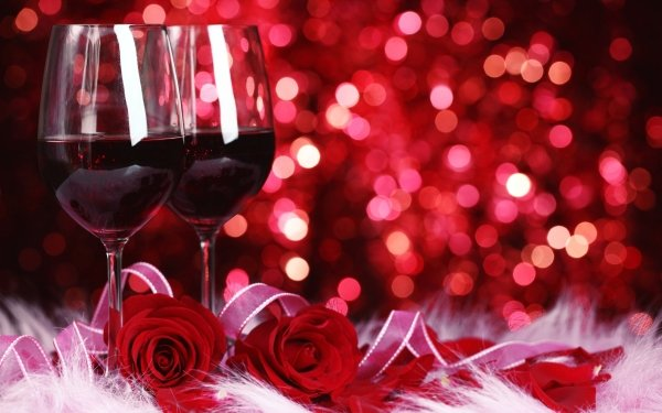 Holiday Valentine's Day Flower Rose Wine Ribbon Bokeh Glass HD Wallpaper | Background Image