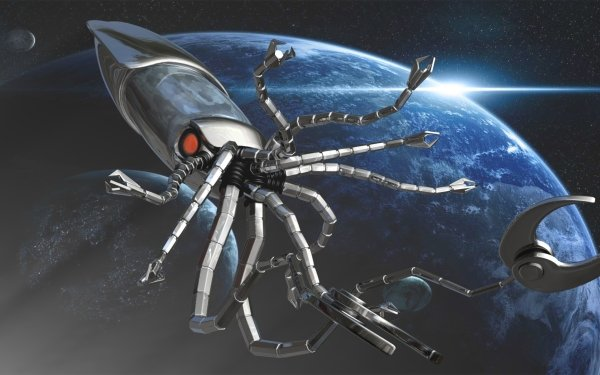 Sci Fi Robot Squid Fantasy Creature Metal Space Tentacle Octopus 3D Spaceship Fish Monster HD Wallpaper | Background Image