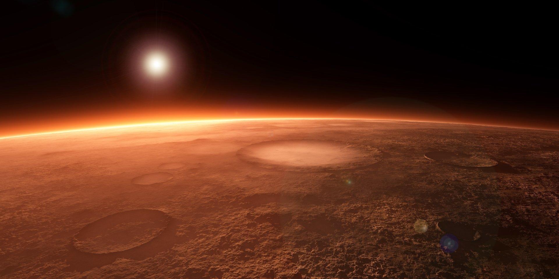 科幻 - Mars  太阳 行星表面 星球 Crater 壁纸