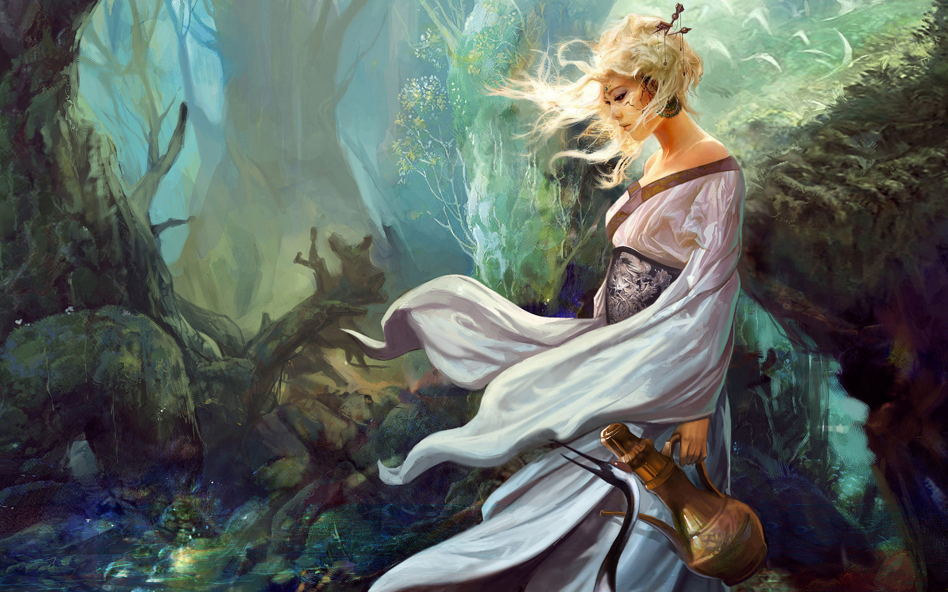 Fantasy - Women  Oriental Fantasy Woman In White Beautiful Forest Woman Wallpaper