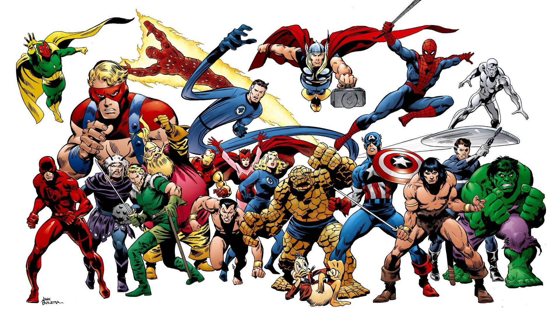 Comics - Collage  Flash Human Torch (Marvel Comics) Mister Fantastic Thor Scarlet Witch Iron Man Thing (Marvel Comics) Captain America Spider-Man Hulk Silver Surfer Wallpaper