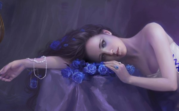 Women Artistic Pearl Rose Bluebird Cage Satin Brown Hair Ring HD Wallpaper | Background Image
