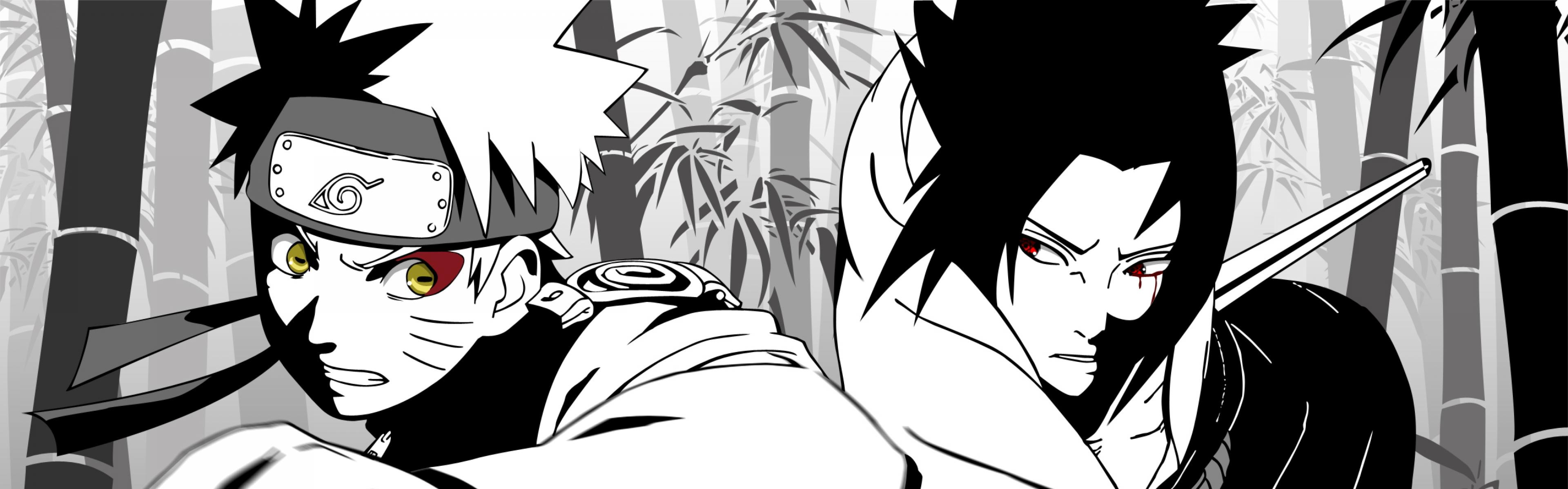 Naruto And Sasuke Dual Monitor Wallpaper