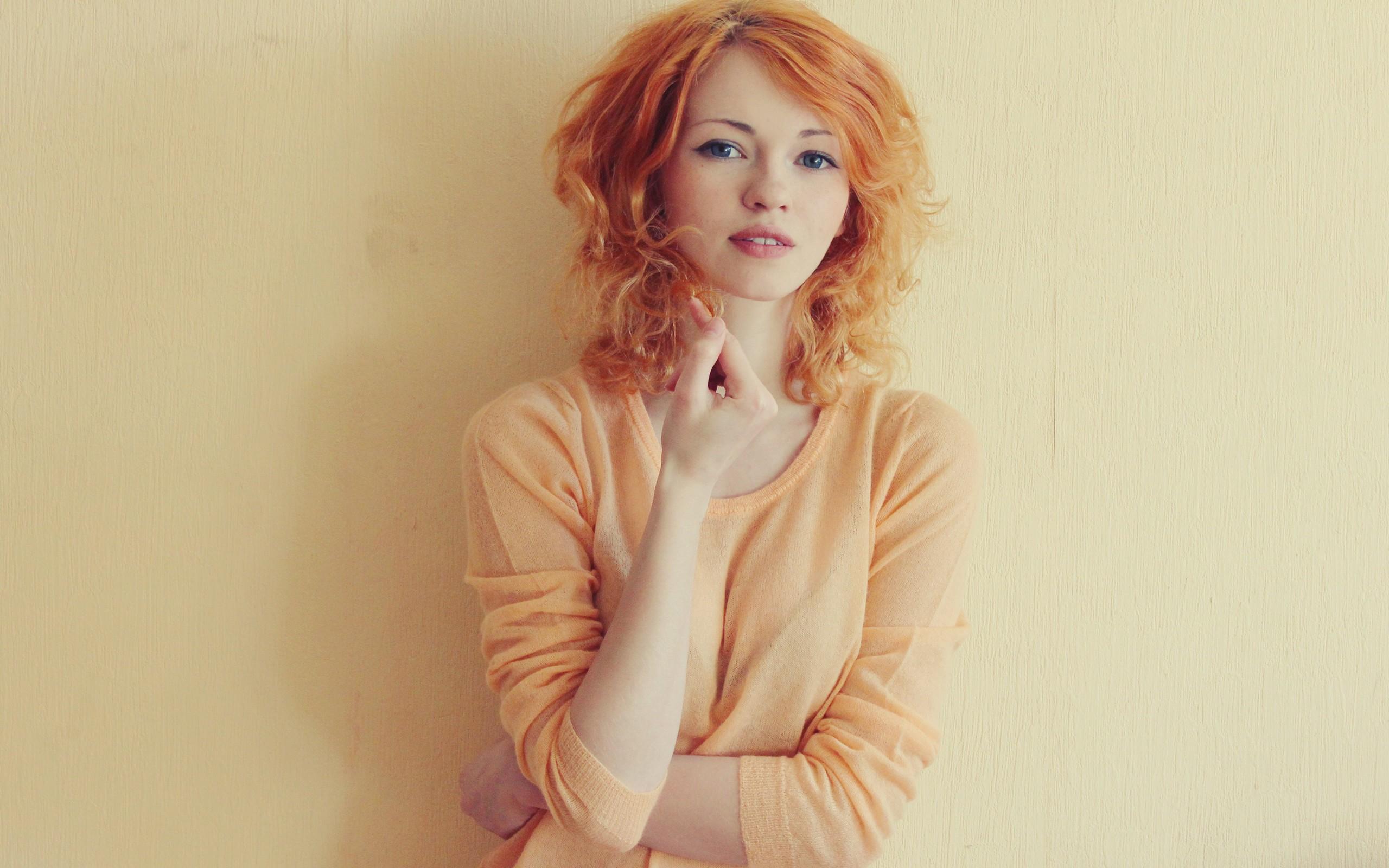 Hot Redhead Woman Blue Eyes