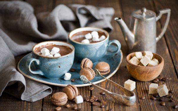 Food Chocolate Marshmallow Teapot Mug Still Life Hot Chocolate Macaroni Coffee Beans HD Wallpaper | Background Image