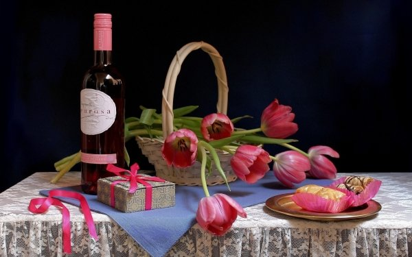 Photography Still Life Tulip Wine Sweets HD Wallpaper | Background Image