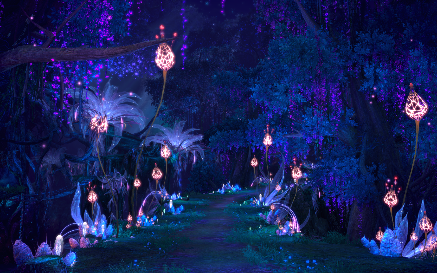 Anime Scenery Forest Magic Night New Moon 1...