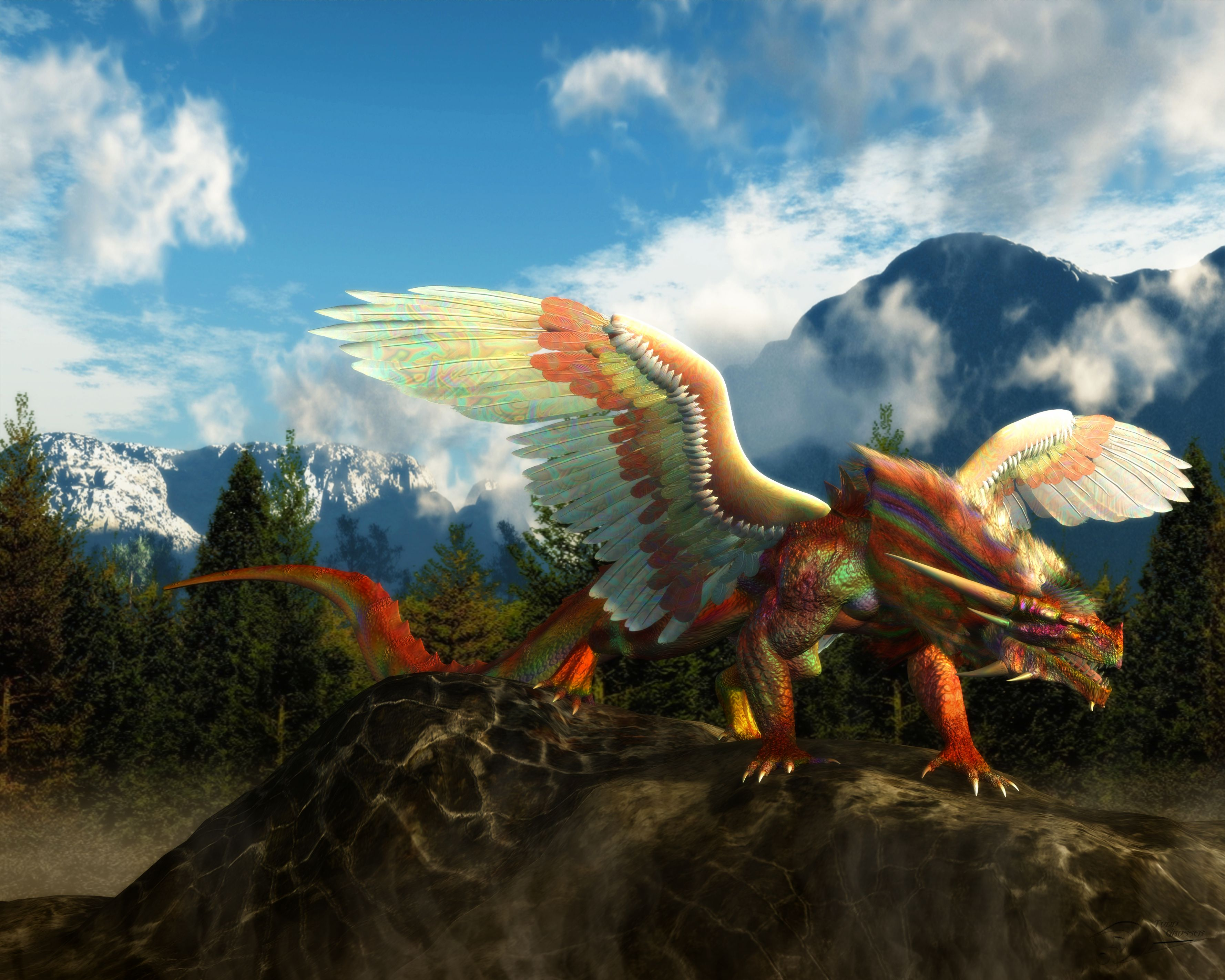 Rainbow Dragon Full HD Wallpaper And Background