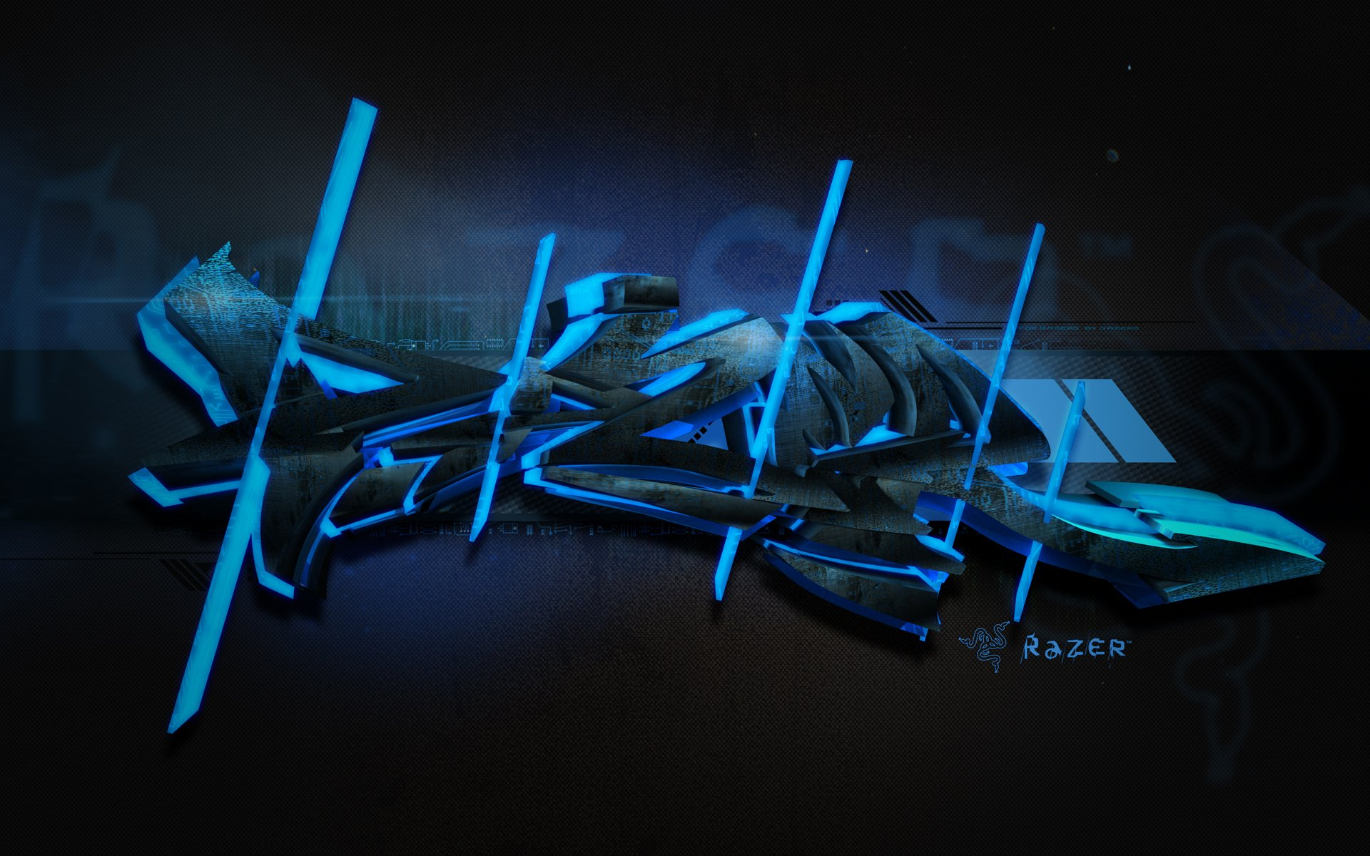 10 Most Popular Black And Blue Gaming Wallpaper Full Hd: Razer Blue Graffiti Wallpaper And Background Image