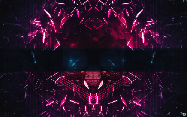 Abstract 3D Shapes Geometry Purple Mirror CGI Glitch Art HD Wallpaper | Background Image