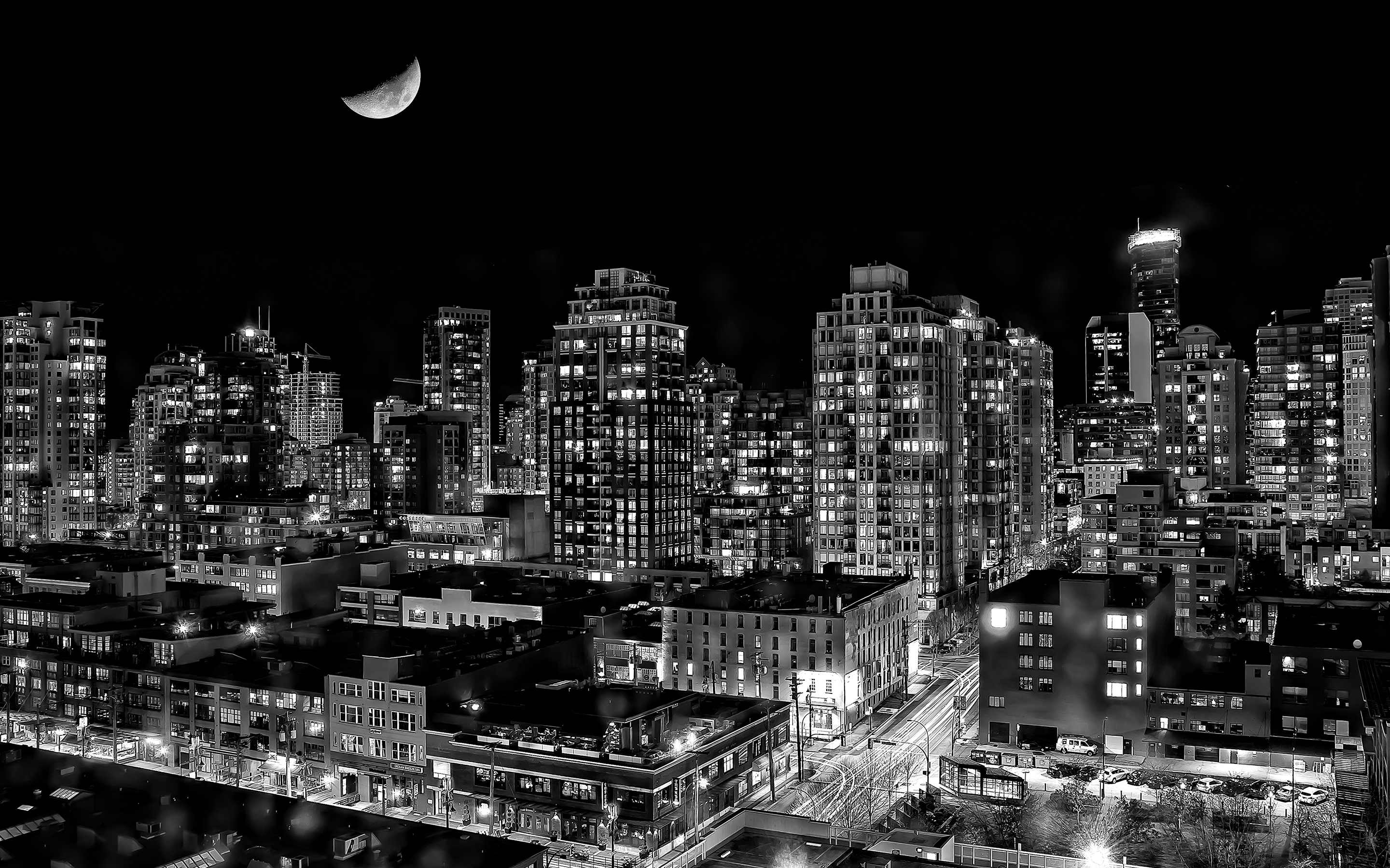 city lights black and white - photo #27