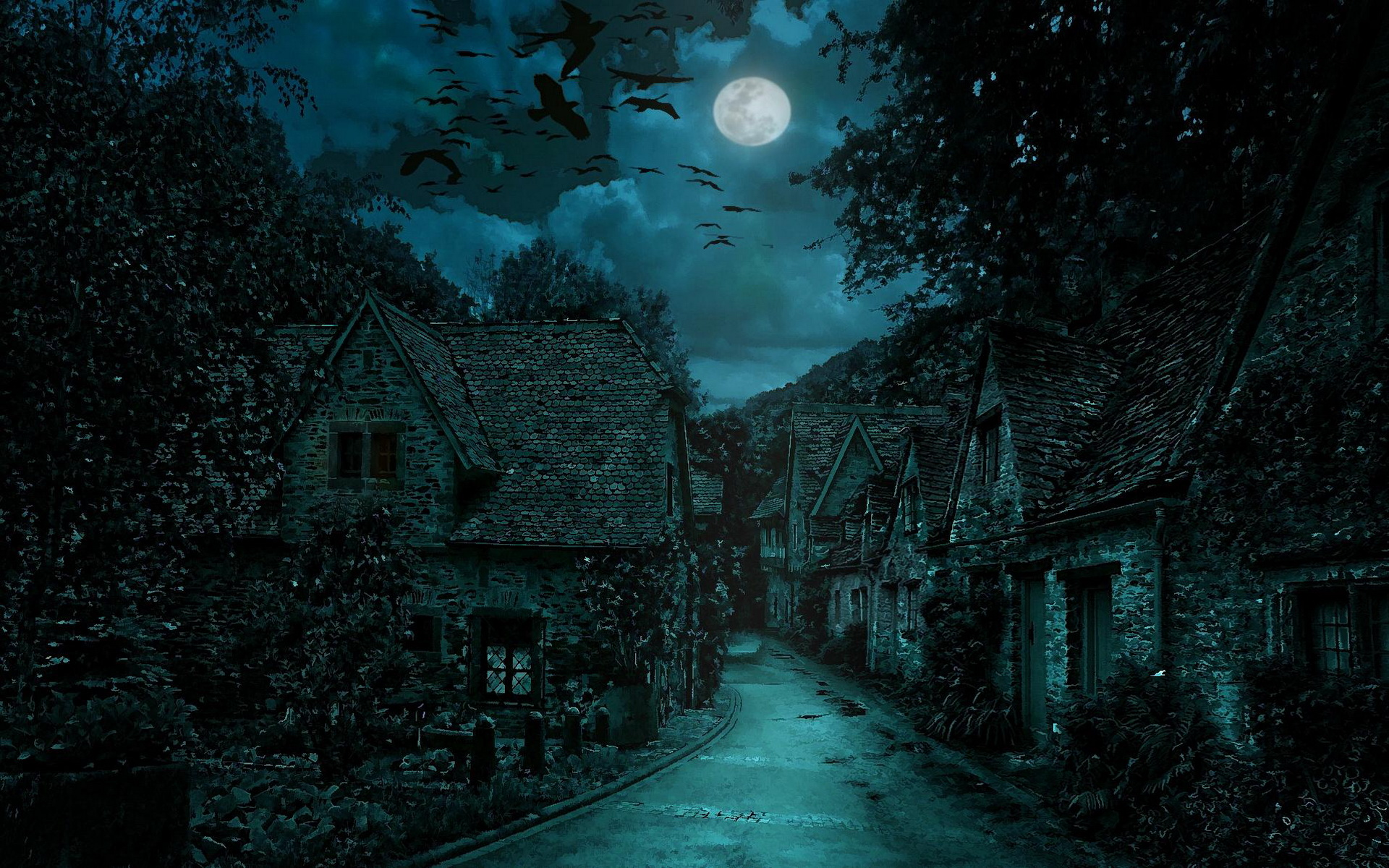 The dark village hd wallpaper background image - Art village wallpaper ...