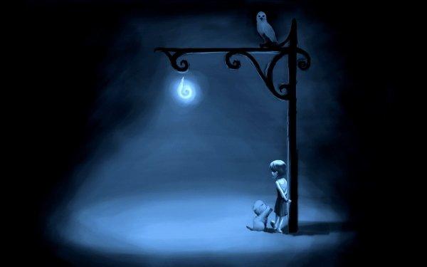 Artístico Pintura Fantasía Little Girl Street Light Búho Kitten Lonely Fondo de pantalla HD | Fondo de Escritorio
