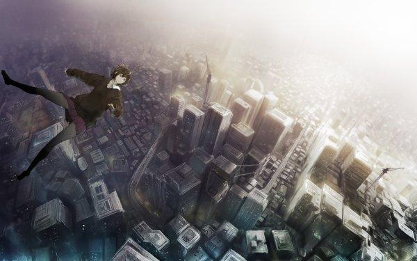 Anime Original Ville Fille Falling Fond d'écran HD | Arrière-Plan