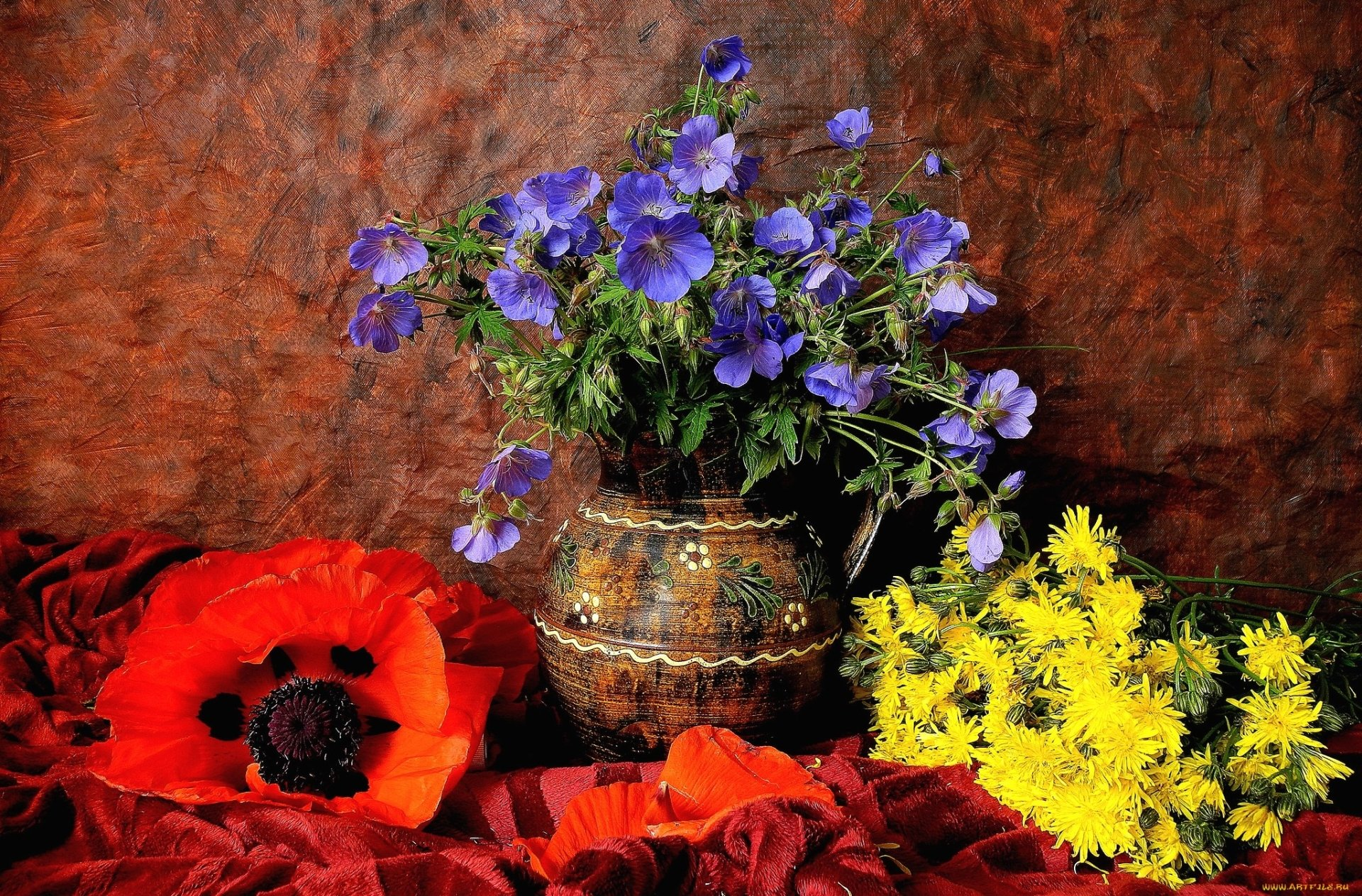 Photography - Still Life  Blue Flower Yellow Flower Poppy Flower Colorful Vase Red Flower Wallpaper