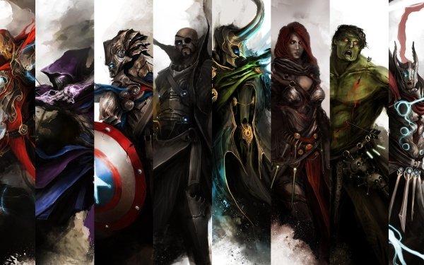 Bande-dessinées Les Vengeurs Avengers Iron Man Œil-de-Faucon Captain America Nick Fury Loki Veuve Noire Hulk Thor Fond d'écran HD | Image